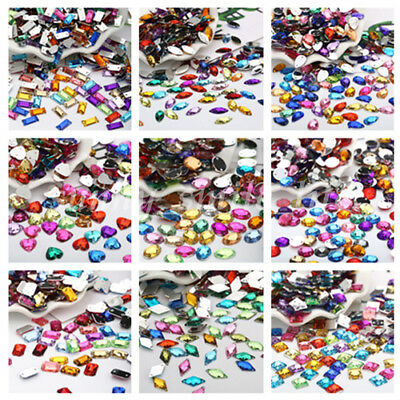 20/50PCS Acrylic Crystal Rhinestone Flat Back Sew On 2 Hole Beads Mixed Colors