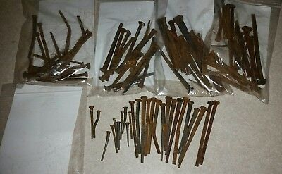"Lot Of 100 Vintage Square Cut Raisin Head Nails 1-1/2"" - 3""  Barn Rust Patina"