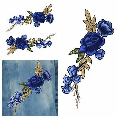 2 x New Embroidery Rose Flower Patch Sew On Dress Bag Jeans Applique Craft