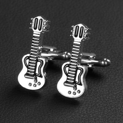 Stainless Steel Cufflinks Silver Guitar Music Instrument Father's Day Wedding