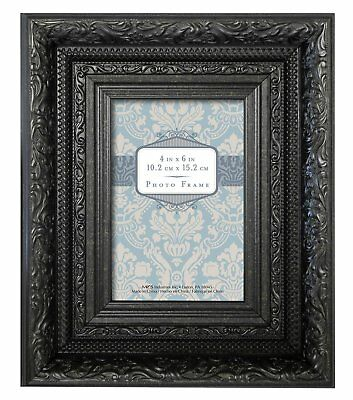 MCS Ornate Vintage Wall or Tabletop Frame, Black, 4x6-Inch