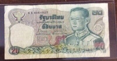 $20 Thailand Baht Banknote Ungraded CollectibleCurrencyAndCoin.com