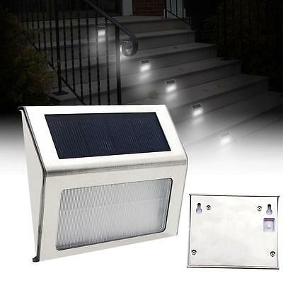 LED Solar Power Stairs Fence Garden Security Lamp Outdoor Waterproof Light^DA