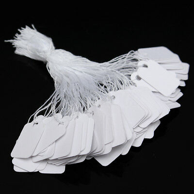 500pcs White Paper String Price Tag Tie Label Jewellery Display + Soft String