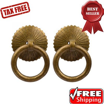 Cabinet Round Ring Pulls for Furniture Designs Accessories 2pcs  1.18x1.85x1.85""
