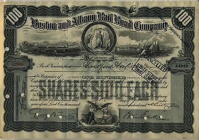 Boston & Albany Railroad Company Stock Certificate Grey