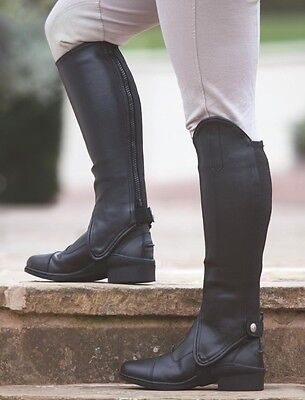 New Shires Equestrian Adults Show Synthetic Leather Half Chaps Gaiters Black XS
