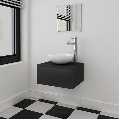4 Piece Wall-mounted Bathroom Furniture Set with Basin/Tap/Mirror/Cabinet Black