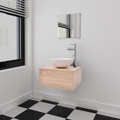 4 Piece Wall-mounted Bathroom Furniture Set with Basin/Tap/Mirror/Cabinet Beige