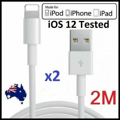 2 x 2M USB Lightning Data Charger Cable Apple iPhone X XS 7 7+ 6S iPad 4 Air Pro