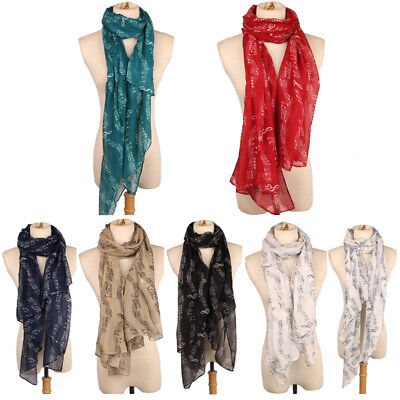 Ladies Musical Note Neck Long Scarf Wrap Shawl Stole Muffler Scarves