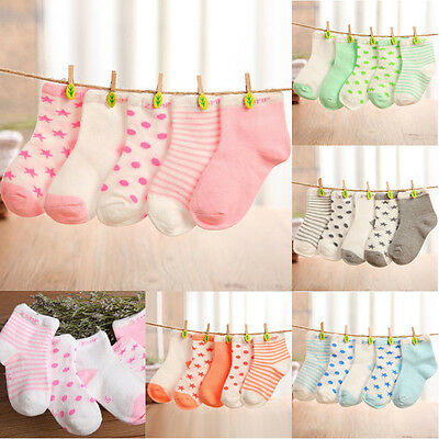 5 Pairs Assorted Non Skid Ankle Cotton Socks Baby Toddler Anti Slip Stripes Star