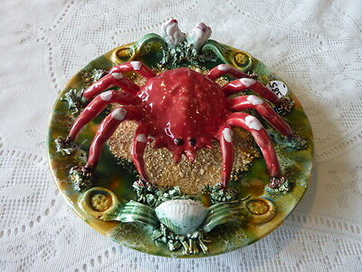Amazing Antique 3 Dimensional Spider Crab Wall Decoration Platter Palissy Ware