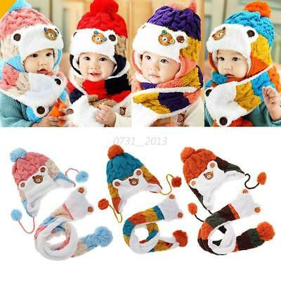 Toddler Baby Kids Crochet Knitted Earflap Cap Warm Hats Hooded Scarf Ski Cap Hot