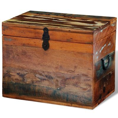 Rustic Storage Trunk Box Reclaimed Solid Wood Storage Furniture Vintage Style