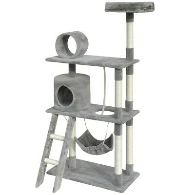 140cm 1 House Cat Tree Scratching Post Activity Centre Bed Toy Kitten Pet Grey