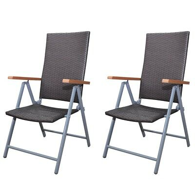 New Garden Furniture Set Rattan Chair Set 2 pcs Brown Aluminium Frame Durable