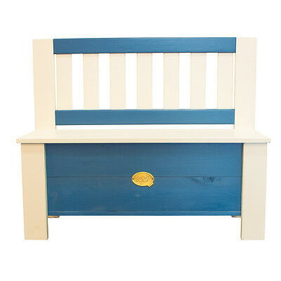 AXI Children's Storage Bench Toy Box w/ Backrest Moby Blue and White A031.041.00