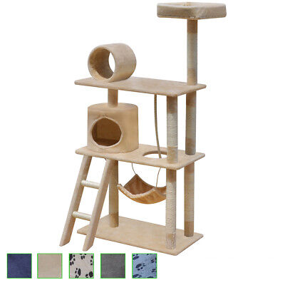 140cm 1 House Cat Tree Scratching Post Activity Centre Bed Kitten Multi Choice
