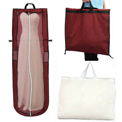 "72""Dustproof Wedding Dress Bridal Gown Garment Cover Storage Bag Zip Carrier UK"