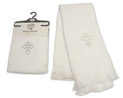 "Baby Christening Baptism Blanket Shawl Wrap Silver Trim 30"" 36"" 120 cm  Cross"