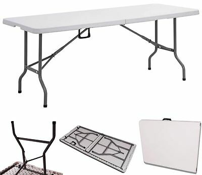 New Heavy Duty Folding Table 6ft Camping Picnic Banquet Party Garden Table White