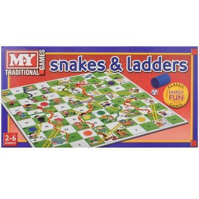 New Traditional Snakes & Ladders Childrens Kids Family Board Games Draughts Ludo