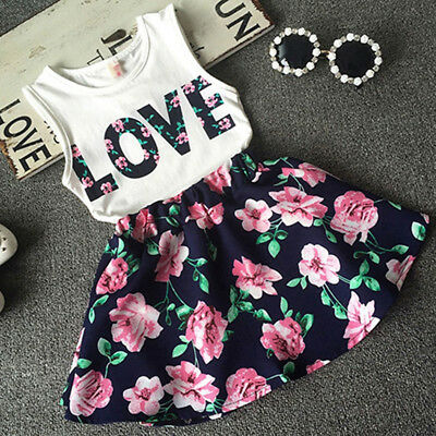 2PCS Toddler Kids Baby Girls T-shirt Tops+Skirt Dress Outfits Set Clothes Floral