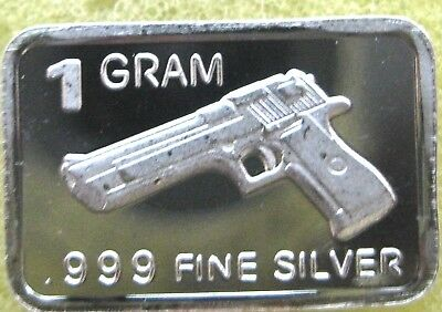 "Best Junk Drawer: 1 GRAM .999 Fine Pure/Solid Silver Bullion Art-Bar: "" PISTOL """