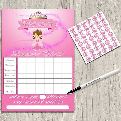 Princess Girls Potty toilet Training Reward Chart Stickers & pen. MAGNETIC