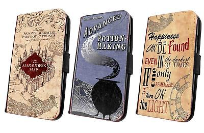 Harry Potter Inspired flip wallet phone case Marauders Map Potion for Samsung
