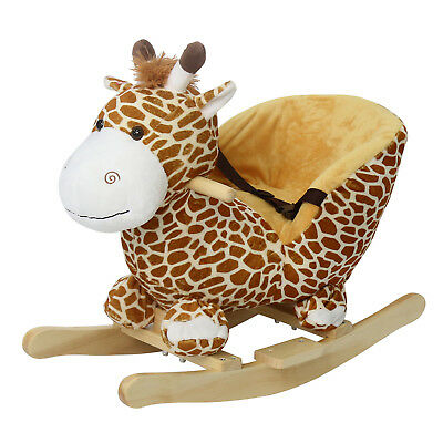 Kids Plush Rocker Baby Play Rocking Horse Style Giraffe Theme Ride On, w/ Sounds