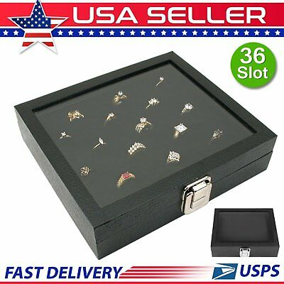 Ring Box Display Case 36 Slot Jewelry Trays Glass Top Organizer Black Modern MY