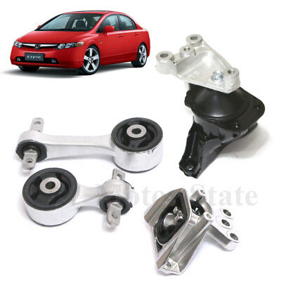 For 06-10 Honda Civic 1.8L MT Engine Motor. Trans Mounts Kit 4PCS With Support