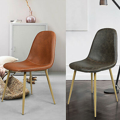 4PCS PU Retro Industrial Design Eames Style Home Living Room Dining Chairs