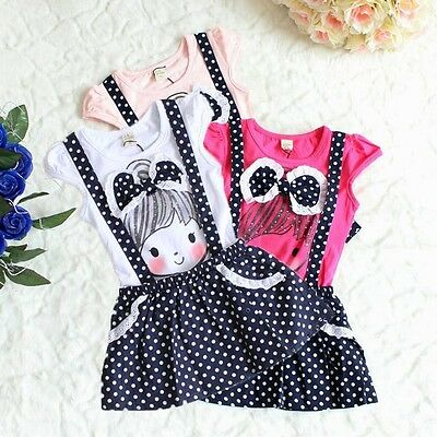 Toddler Baby Girl Kid Polka Dot Dress Clothing Child Playsuit Outfit Costume