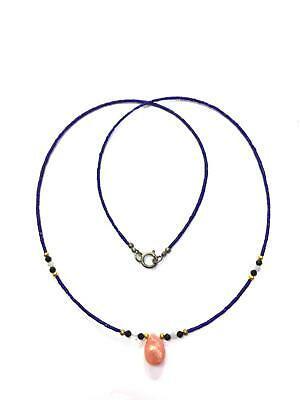 Afghan Natural Top Quality Lapis Tiny Seed Beads Necklace Rhodochrosite Pendant