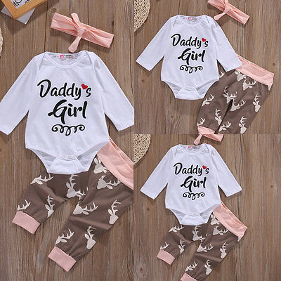 Newborn Infant Baby Girl Clothes Romper Leggings Pants Bodysuit Headband Outfit