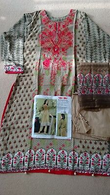 Stitched 3 Piece Embroidered Linen  Indian Pakistani Salwar Kameez Suit