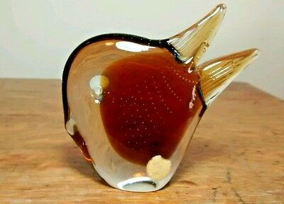 Art Glass Figural Duck Head Brown Amber Paperweight Made in Sweden Vintage