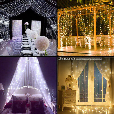 3x6m 600 Led Curtain Fairy Lights Wedding Outdoor Indoor Christmas Garden Party
