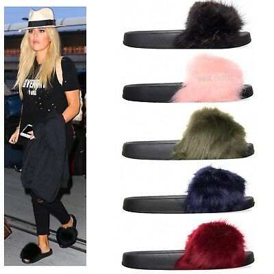 Womens Ladies Fluffy Furry Sliders Slides Flip Flops Sandals Slippers Shoes Size