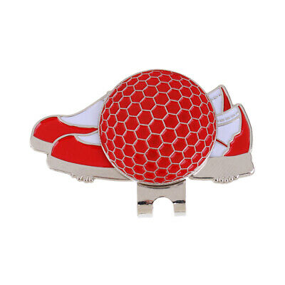 Stainless Steel Shoe Design Magnetic Golf Hat Clip and Ball Marker Red