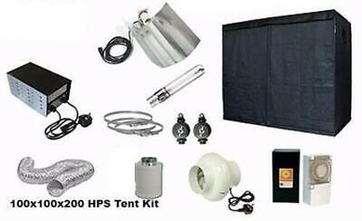 Complete Hydroponic Grow Room Tent Fan Filter HPS Light Kit 250 600w 100x100x200