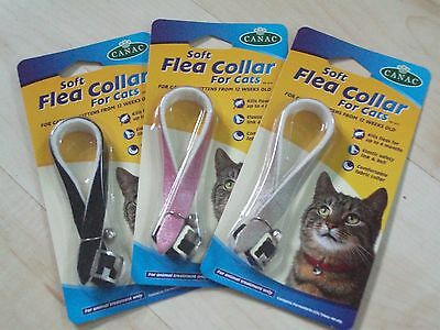 Cat Flea Collar with Bell - Safe, effective, UK Manufactured, comfy, soft, Pink