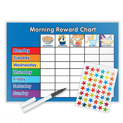 Magnetic Morning Training Behaviour Reward Chart With Pen & Star Stickers - B