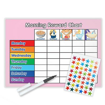 MAGNETIC MORNING BEHAVIOUR REWARD TRAINING CHART WITH PEN & STAR STICKERS - Pi