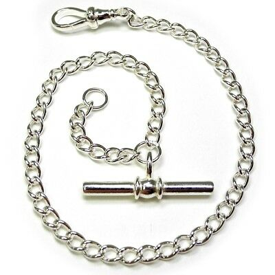 Solid Sterling Silver Pocket Watch Fob Lightweight Albert Chain .925 - FA462