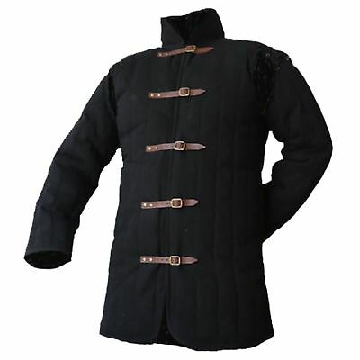 Medieval thick padded Black Gambeson coat Aketon Jacket Armor reenactment