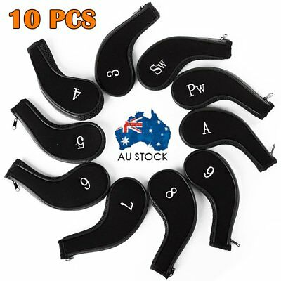 10Pcs Zipper Head Covers Golf Iron Club Putter Head Protective Case Sock Set AU